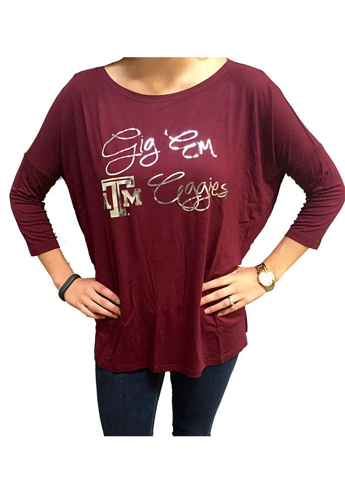 Texas A&M Aggies Womens Maroon Lucy Long Sleeve Women's Scoop - Image 3