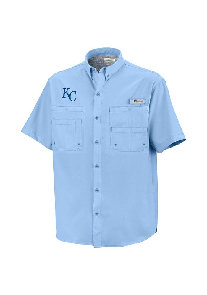 b7856e20c Columbia Kansas City Royals Mens Light Blue Tamiami Short Sleeve Dress Shirt  - Image 1