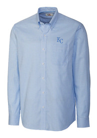 Kansas City Royals Cutter and Buck Tattersall Dress Shirt - Light Blue
