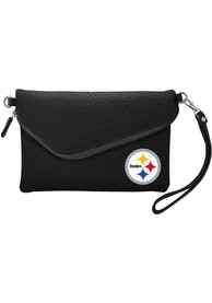 Pittsburgh Steelers Womens Fold Over Pebble Purse - Black