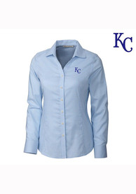 Kansas City Royals Womens Cutter and Buck Tattersall Dress Shirt - Light Blue