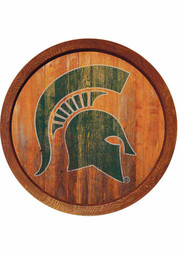 Michigan State Spartans Weathered Faux Barrel Top Sign