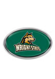 Wright State Raiders Domed Oval Car Emblem - Green