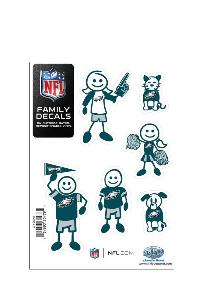 Philadelphia Eagles 5x7 Family Pack Auto Decal - Midnight Green - Image 1