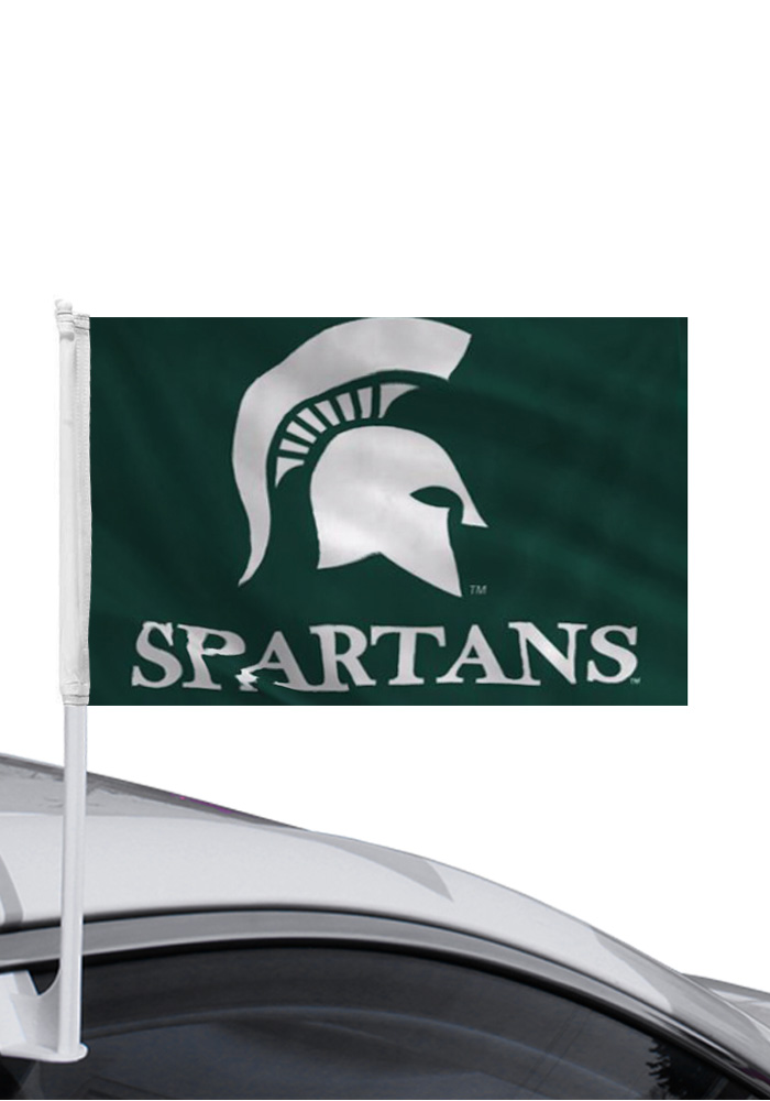 Michigan State Spartans 11x14 Green Car Flag - Image 1