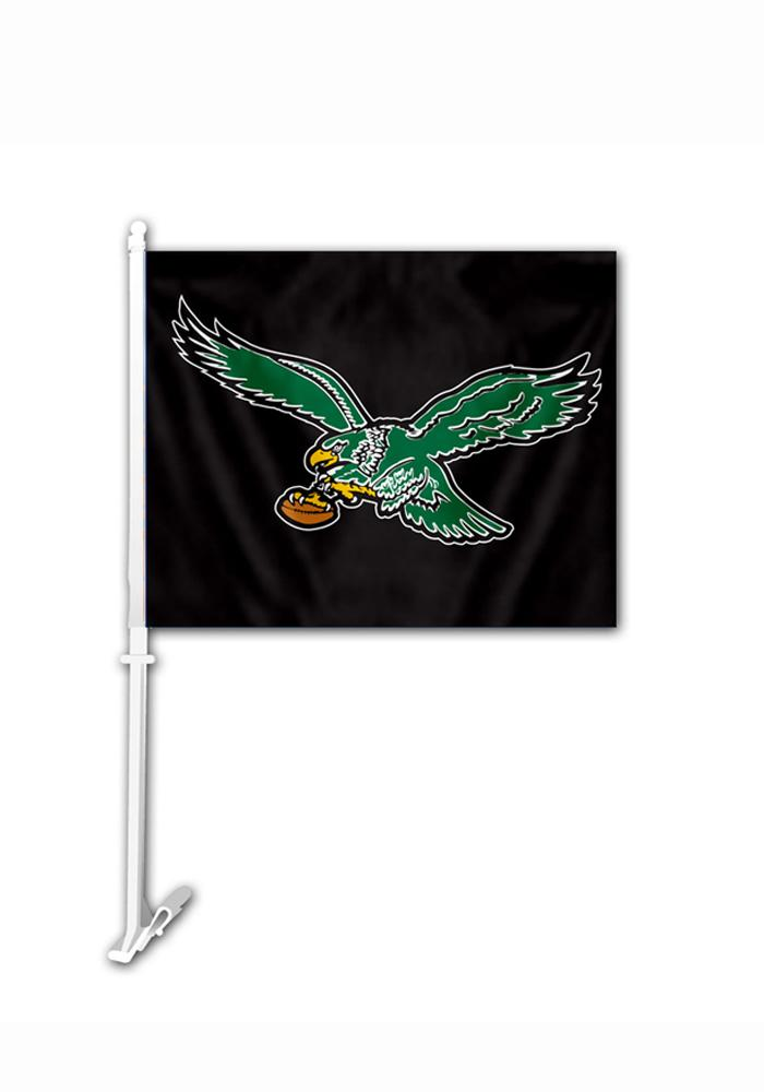 Philadelphia Eagles 11.5x14.5 Retro Bird Car Flag - Black - Image 1