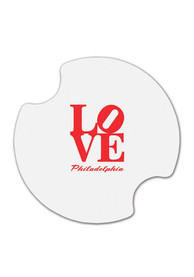 Philly Love Car Coaster - White