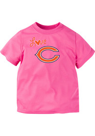 Chicago Bears Toddler Girls Pink Love Logo T-Shirt