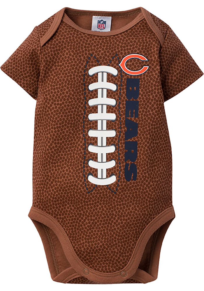 Chicago Bears Baby Navy Blue Football Short Sleeve One Piece - Image 1