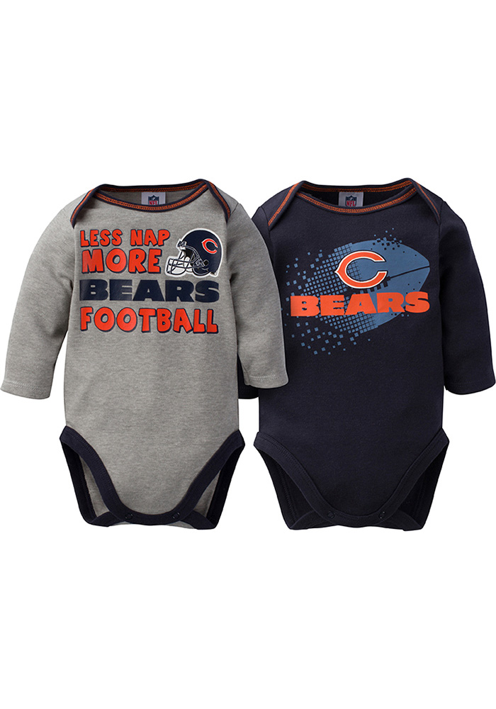Chicago Bears Baby Navy Blue More Football One Piece - Image 1