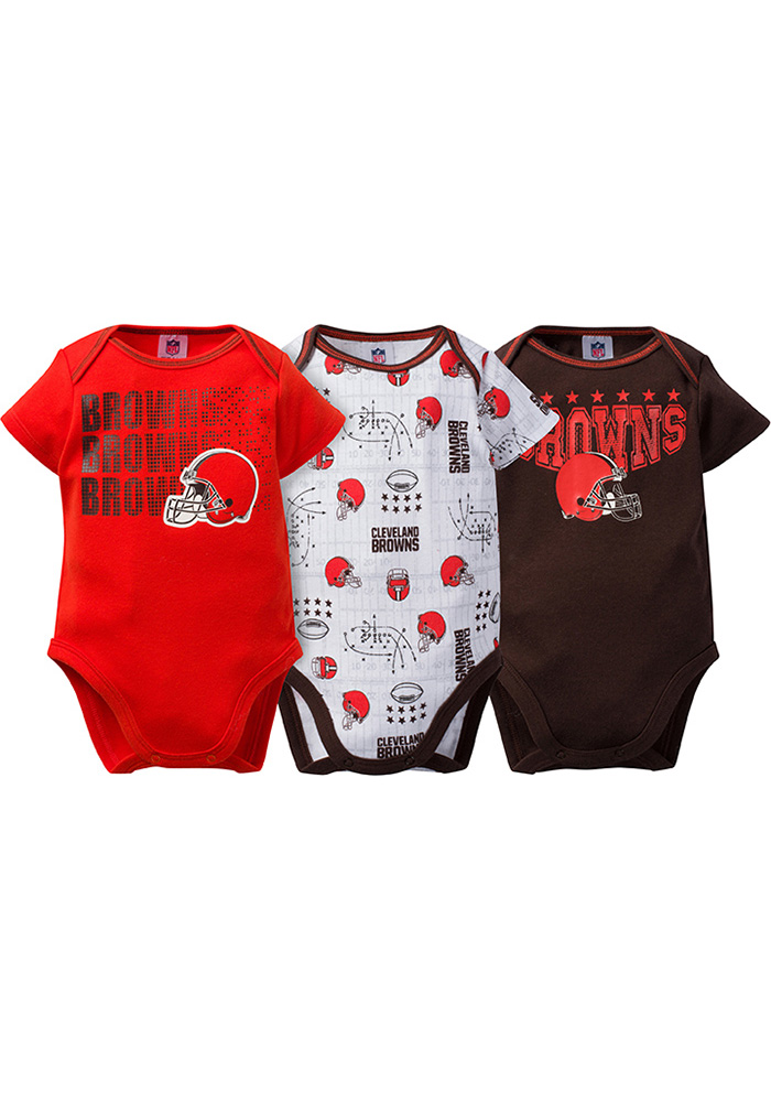 Cleveland Browns Baby Brown Trifecta One Piece - Image 1