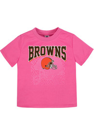 Cleveland Browns Infant Girls Helmet Watermark Short Sleeve T-Shirt Pink