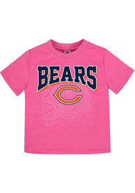 Chicago Bears Infant Girls Helmet Watermark Short Sleeve T-Shirt Pink
