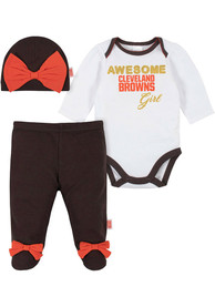 Cleveland Browns Infant Girls Awesome Girl Top and Bottom - Brown