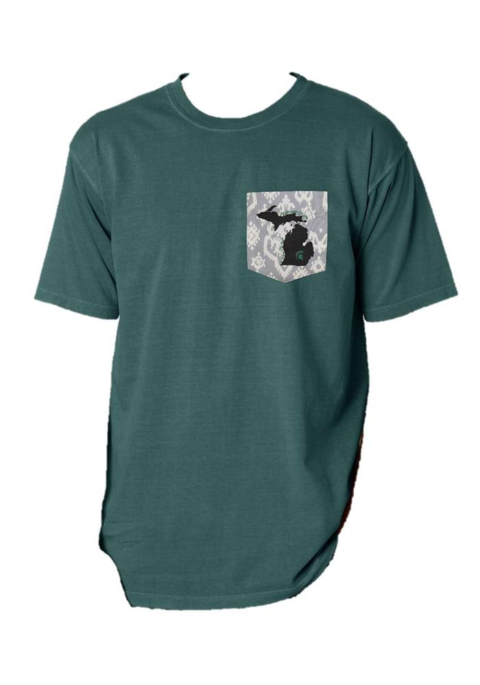 Michigan State Spartans Womens Green Comfort Color Short Sleeve Unisex Tee - Image 1