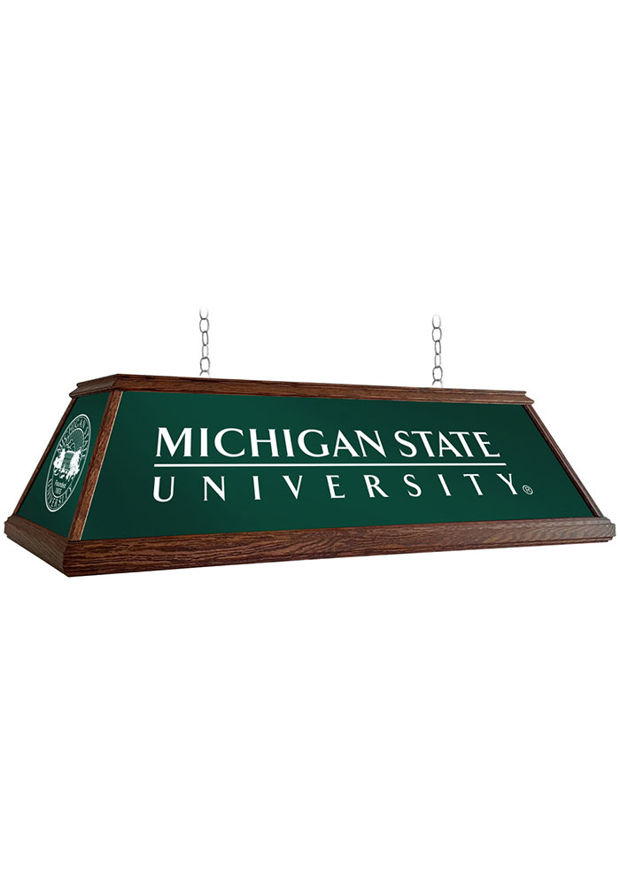 Michigan State Spartans 49 Inch Deluxe Wood Green Billiard Lamp - Image 1