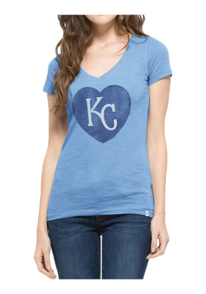 '47 Kansas City Royals Womens Light Blue Heart Scrum V-Neck T-Shirt - Image 1