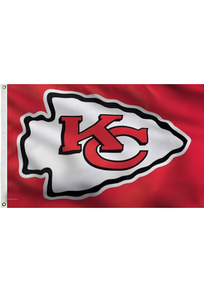 Kansas City Chiefs 3x5 Deluxe Grommet Red Silk Screen Grommet Flag - Image 1