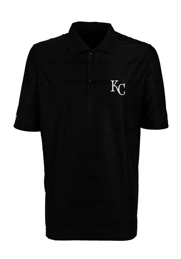 Antigua Kansas City Royals Mens Black Illusion Short Sleeve Polo - Image 1