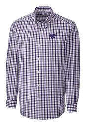 Cutter and Buck K-State Wildcats Mens Purple Grant Plaid Dress Shirt
