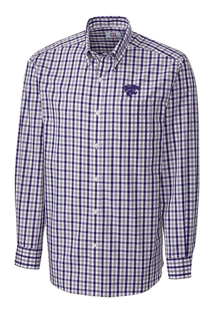 Cutter and Buck K-State Wildcats Mens Purple Grant Plaid Long Sleeve Dress Shirt - Image 1