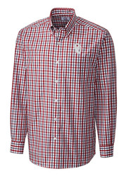 Cutter and Buck Oklahoma Sooners Mens Red Grant Plaid Dress Shirt
