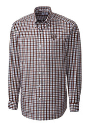 Cutter and Buck Texas A&M Mens Maroon Grant Plaid Dress Shirt