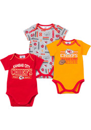 KC Chiefs Baby Red Infant 3 Piece Bodysuit Creeper