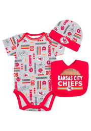 KC Chiefs Baby red Infant Bodysuit Bib and Cap Creeper with Bib