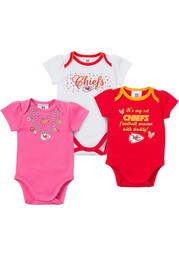 KC Chiefs Baby pink Infant 3-Pack Bodysuit Creeper
