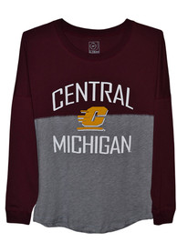 Central Michigan Chippewas Womens Sideline Jersey Maroon LS Tee