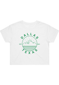 Dallas Women's Starry Scape White Cropped Short Sleeve T-Shirt