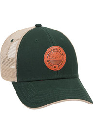 North Texas Mean Green Starry Scape Leather Patch Meshback Adjustable Hat - Green
