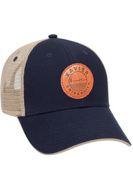 Xavier Musketeers Starry Scape Leather Patch Meshback Adjustable Hat - Navy Blue