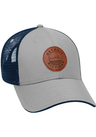 Detroit Starry Scape Leather Patch Meshback Adjustable Hat - Grey