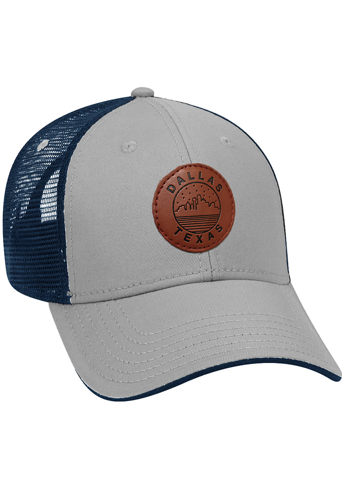 Dallas Ft Worth Starry Scape Leather Patch Meshback Adjustable Hat - Grey - Image 1
