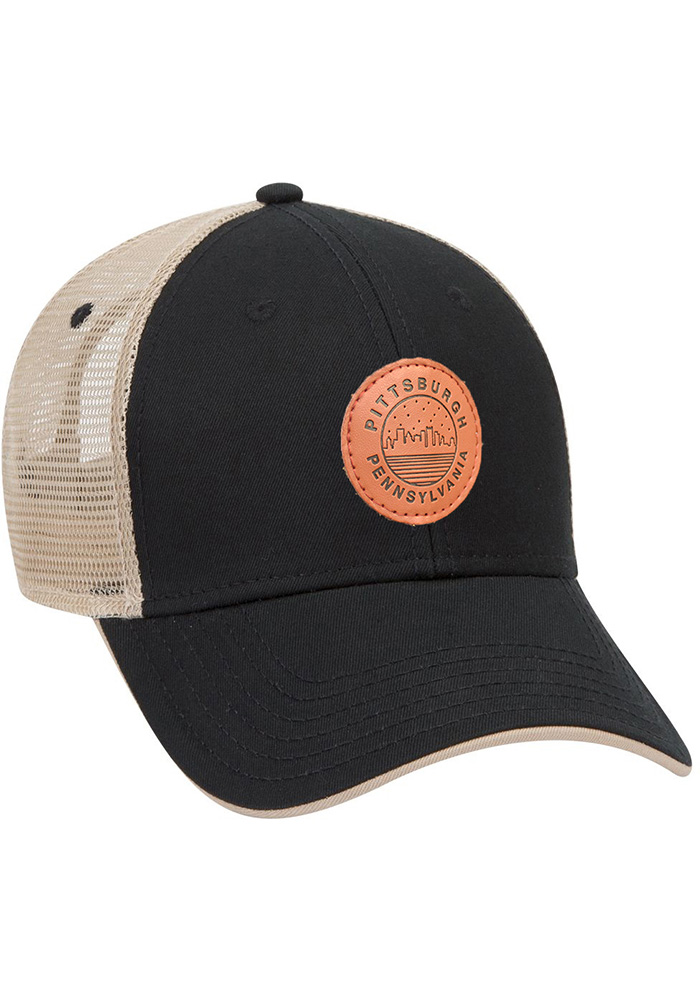 Pittsburgh Starry Scape Leather Patch Meshback Adjustable Hat - Black - Image 1