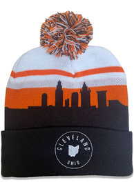 Cleveland Orange Skyline Pom Knit Hat