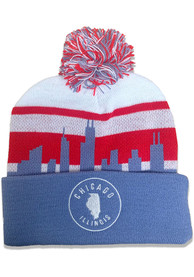 Chicago Light Blue Skyline Pom Knit Hat
