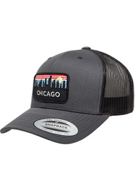 Chicago Retro Skyline Elevated Trucker Adjustable Hat - Charcoal