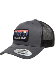Cleveland Retro Skyline Elevated Trucker Adjustable Hat - Charcoal
