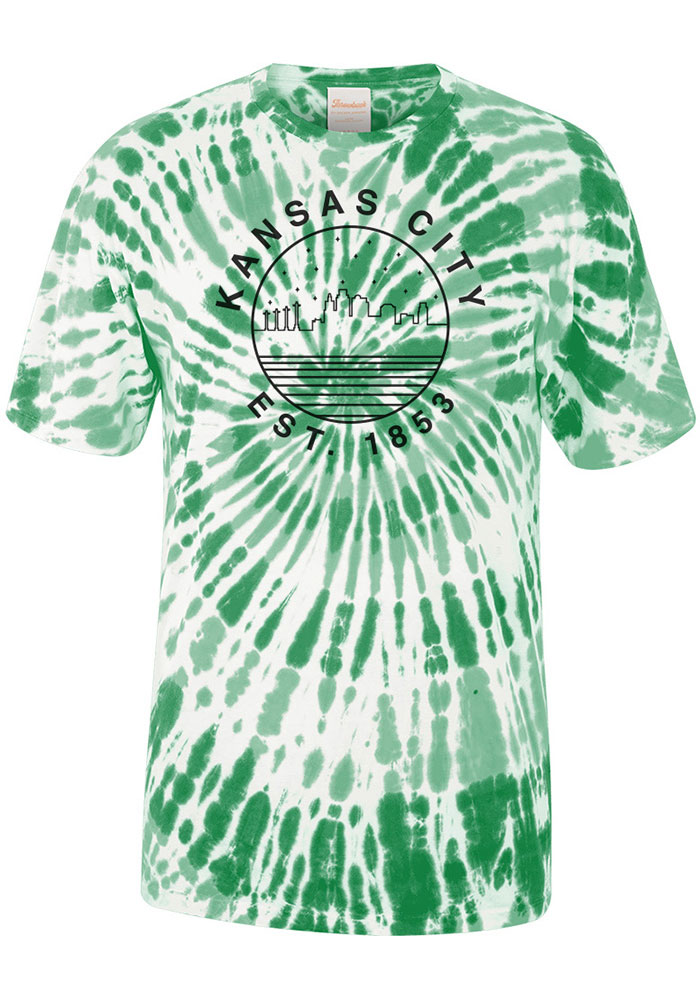 Kansas City Kelly Green Tie Dye Starry Skyline Short Sleeve T Shirt - Image 1