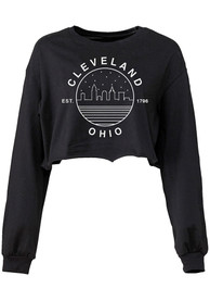Cleveland Women's Black Starry Skyline Cropped Long Sleeve T Shirt