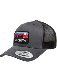Wichita Retro Skyline Elevated Trucker Adjustable Hat - Charcoal