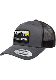 Pittsburgh Retro Skyline Elevated Trucker Adjustable Hat - Charcoal