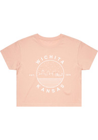 Wichita Women's Pale Pink Starry Skyline Cropped Short Sleeve T Shirt