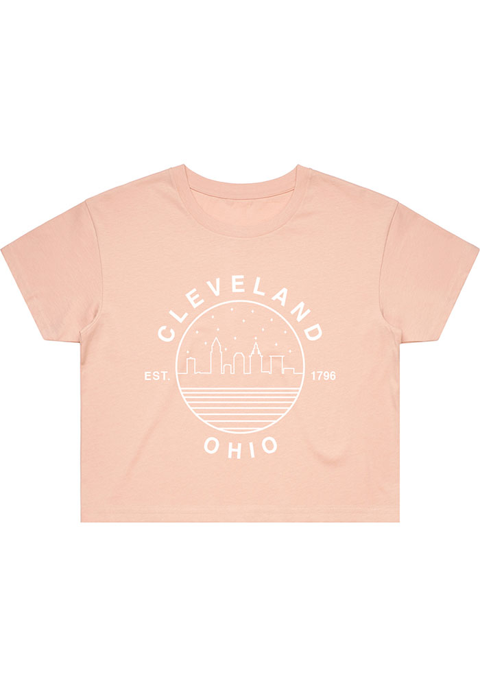 Cleveland Women's Pale Pink Starry Skyline Cropped Short Sleeve T Shirt - Image 1