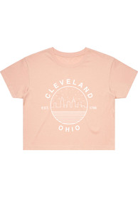 Cleveland Women's Pale Pink Starry Skyline Cropped Short Sleeve T Shirt