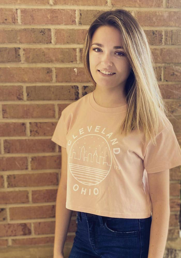 Cleveland Women's Pale Pink Starry Skyline Cropped Short Sleeve T Shirt - Image 2