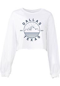 Dallas Women's White Starry Skyline Cropped Long Sleeve T Shirt